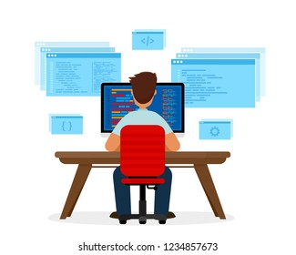 Engineer programmer is working at the desk. Programming concept, website coding. Vector illustration isolated on white background.