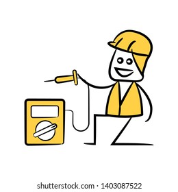 engineer or service man using volt meter in yellow theme