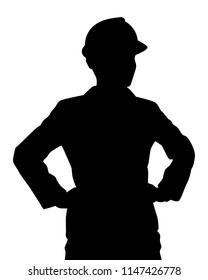 Engineer silhouette vector. Person concept in black and white.