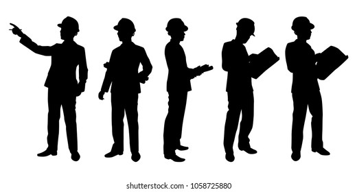 Engineer silhouette vector set