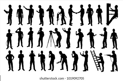 Engineer silhouette,Vector for your web site design, logo, app, UI. Vector illustration, EPS