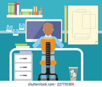 Engineer sitting on chair at table in front of computer monitor and stand with drawing plan cartoon flat design style