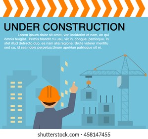 Engineer standing orders for construction crews to work.heavy industry and safety at work concept.Building under Construction site