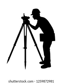 The engineer with theodolite silhouette vector. Industrial technology concept.