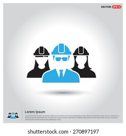 engineer users. industrial user group icon. Engineer Community. Icons for Engineer. construction industry engineer workers icons. Blue Manager User Highlight. Flat style design Pictogram icon.