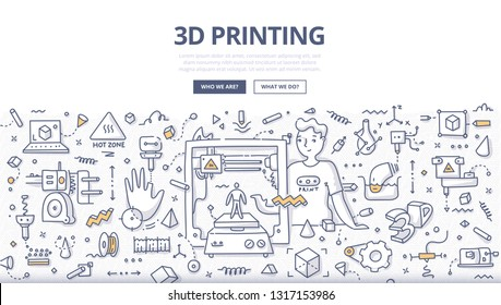 Engineer using 3D printer to create human model from plastic. 3D printing technology concept. Doodle illustration for web banners, hero images, printed materials