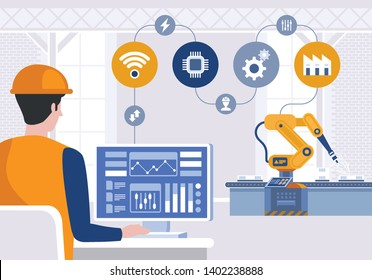 Engineer using computer to control robotic arm on smart factory. Industry 4.0 concept. Vector illustration