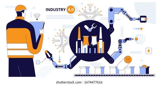 Ingenieur mit Tablette zur Steuerung von Förderband und Roboterarmen. Intelligente Fabrikinformationen. Industrietechnologie, Fernbedienung. Künstliche Intelligenz, Internet der Dinge IoT. Vektorillustration