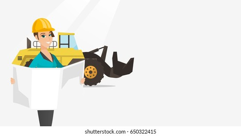 Engineer watching blueprint at construction site. Engineer with engineer blueprint standing on the background of excavator. Engineer with blueprint. Vector flat design illustration. Horizontal layout.