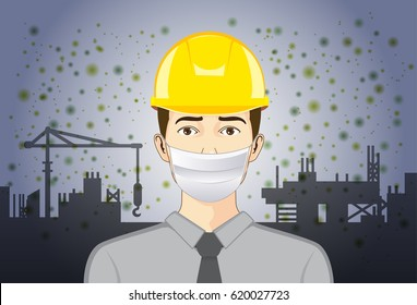 Engineer wearing breath mask and Safety Helmet for protect dust particles and  pollution in construction site.