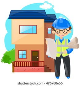 Engineer working on building house illustration