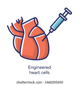 Engineered heart cells red color icon. Human engineered cardiac tissues. HECTs. Heart injection. Study cardiac physiology. Bioengineering. Biotechnology. Isolated vector illustration