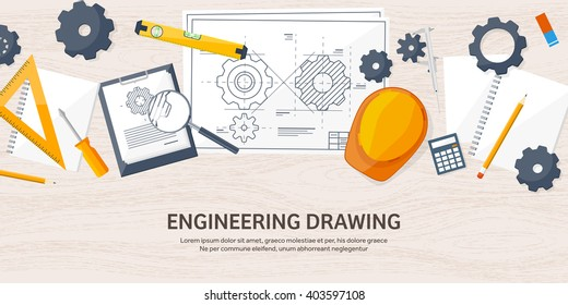 Engineering and architecture design.Flat style.Technical drawing,mechanical engineering.Building construction,trends in design or architecture.Engineering workplace with tools.Industrial architecture.