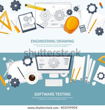 Engineering And Architecture Design.Flat Style.Technical Drawing,mechanical  Engineering.Building Construction