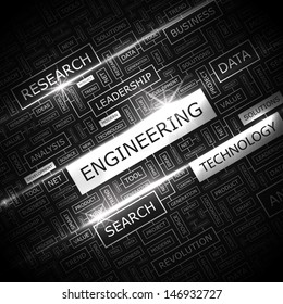 ENGINEERING. Background concept wordcloud illustration. Print concept word cloud. Graphic collage with related tags and terms. Vector illustration.