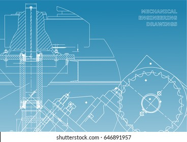 Engineering backgrounds. Mechanical engineering drawings. Cover. Technical Design. Blueprints. Blue and White
