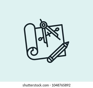 Engineering blueprint icon line isolated on clean background. Engineering blueprint icon concept drawing icon line in modern style. Vector illustration for your web site mobile logo app UI design.