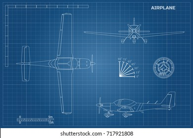 Engineering blueprint of plane. Fast sport airplane view top, side and front. Industrial drawing of aircraft. Vector illustration