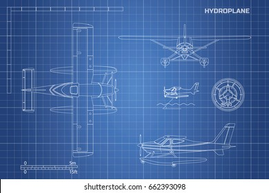 Engineering blueprint of plane. Hydroplane view: top, side and front. Industrial drawing of aircraft. Vector illustration.