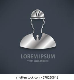 Engineering design  logo template,silver,metal concept design,clean vector