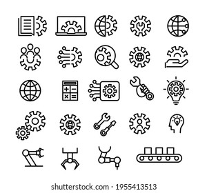 Engineering, development and innovation icon set in outline design.