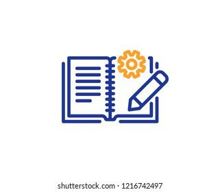 Engineering documentation line icon. Technical instruction sign. Colorful outline concept. Blue and orange thin line color icon. Engineering documentation Vector
