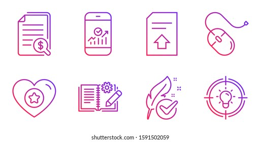 Engineering documentation, Upload file and Financial documents line icons set. Hypoallergenic tested, Heart and Smartphone statistics signs. Computer mouse, Idea symbols. Vector