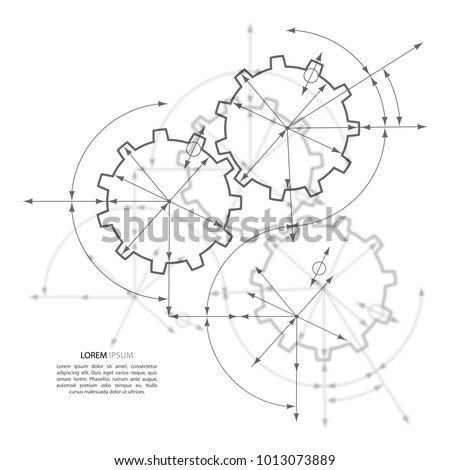 Engineering Drawing Abstract Industrial Background Cogwheels Stock