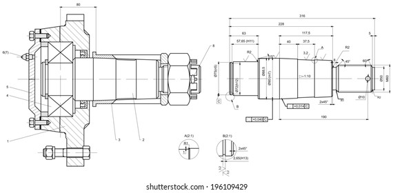 Engineering drawing of bearing on shaft. Vector format