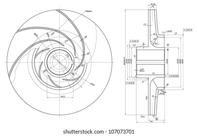 Engineering drawing of components. Vector EPS10
