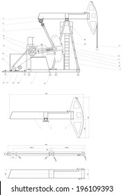 Engineering drawing drive submersible oil pump plunger. Vector format