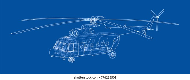 Engineering drawing of helicopter. Vector EPS10 format, rendering of 3d