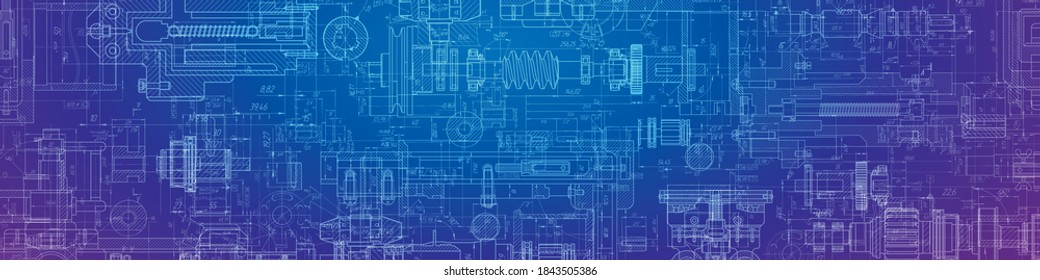 Engineering drawing .Parts for industrial construction. Technology Background.Mechanical.Vector illustration.