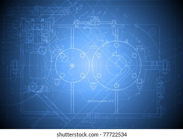 The engineering drawing of a reducer on blue background. Eps 10 vector blueprint