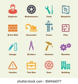 engineering elements, vector infographic icons