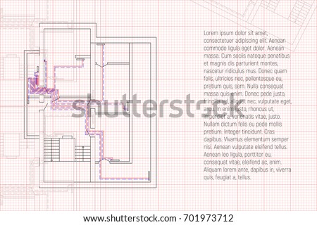 engineering hvac project graph paper heating stock vector royalty