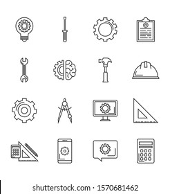 Engineering icons. ideas, rulers, calculators, hat icons and more. Eps10 vector