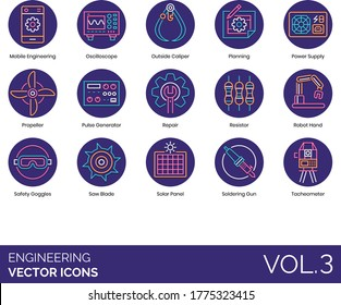Engineering icons including mobile, oscilloscope, outside caliper, power supply, propeller, pulse generator, resistor, robot hand, safety goggles, saw blade, solar panel, soldering gun, tacheometer.