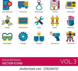Engineering icons including mobile, oscilloscope, outside caliper, planning, power supply, propeller, pulse generator, repair, resistor, robot hand, saw blade, solar panel, soldering gun, tacheometer.