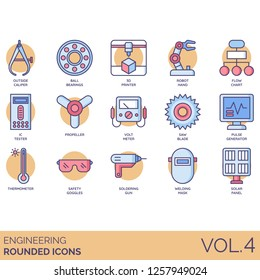 Engineering icons including outside caliper, ball bearing, 3d printer, robot hand, flowchart, IC tester, voltmeter, pulse generator, thermometer, safety goggles, soldering, welding mask, solar panel.