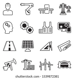Engineering Icons. Line With Fill Design. Vector Illustration.
