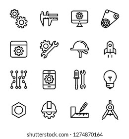 Engineering icons pack. Isolated engineering symbols collection. Graphic icons element