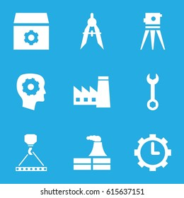 Engineering icons set. set of 9 engineering filled icons such as factory, gear in head, gear, wrench, hook with cargo, theodolite, compass