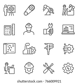Engineering icons set. Engineer, linear style. Field of technical activity for invent, innovate, design, build, maintain and research. Line with editable stroke