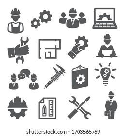 Engineering icons set on white background