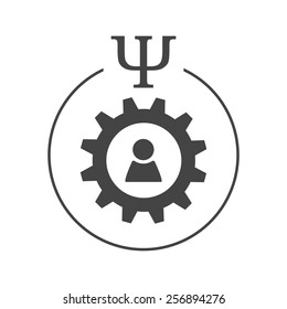 Engineering or industrial psychology logo. Person sign inside gear wheel in a circle with psi letter