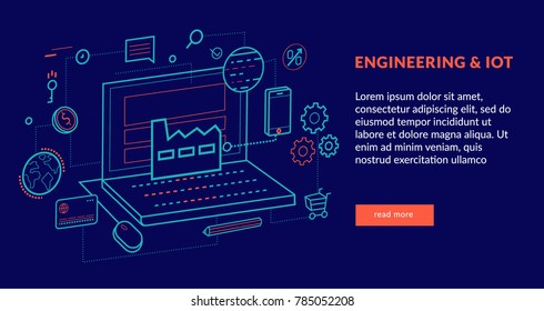 Engineering and IOT Concept for web page, banner, presentation. Vector illustration