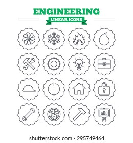 Engineering linear icons set. Ventilation, heat and air conditioning symbols. Water supply, repair service and circuit board thin outline signs. Lamp, house and locker. Flat vector