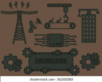 Engineering logo template vector with various section of engineer