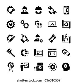 Engineering and manufacturing icon set in flat style. Vector symbols.
